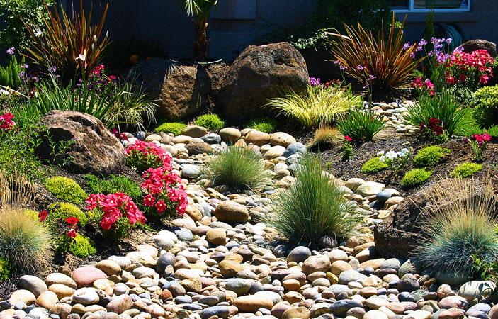 Landscape rock bed design
